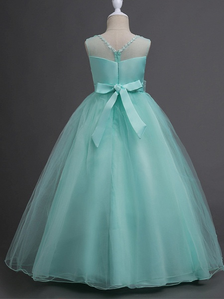 Princess Long Length Wedding / First Communion Satin / Tulle Sleeveless Jewel Neck With Belt / Appliques_13