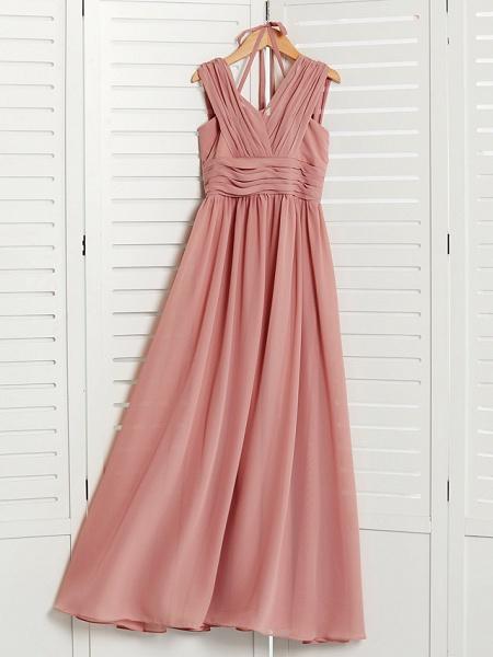 A-Line V Neck Maxi Chiffon Junior Bridesmaid Dress With Pleats / Ruching_7