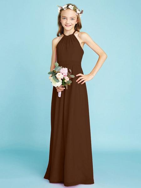 A-Line Halter Neck Floor Length Chiffon Junior Bridesmaid Dress With Sash / Ribbon / Natural_24