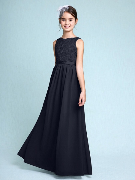 Sheath / Column Bateau Neck Floor Length Chiffon / Lace Junior Bridesmaid Dress With Lace / Natural_36