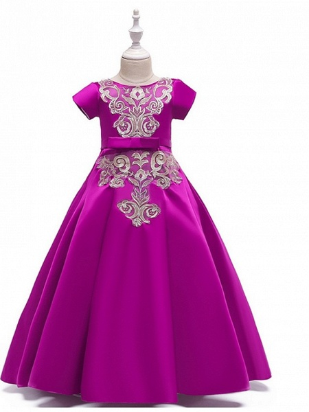 A-Line Round Floor Length Cotton Junior Bridesmaid Dress With Bow(S) / Appliques_3