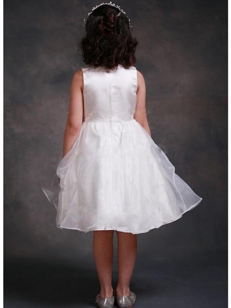 A-Line Tea Length Wedding / Party Flower Girl Dresses - Organza / Satin Sleeveless Jewel Neck With Tier_2