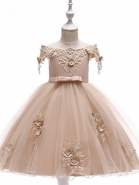 Princess / Ball Gown Knee Length Wedding / Party Flower Girl Dresses - Satin / Tulle Short Sleeve Off Shoulder With Sash / Ribbon / Bow(S) / Appliques_13