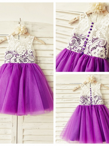 A-Line Knee Length Pageant Flower Girl Dresses - Lace / Tulle Sleeveless Jewel Neck With Lace / Pleats_3