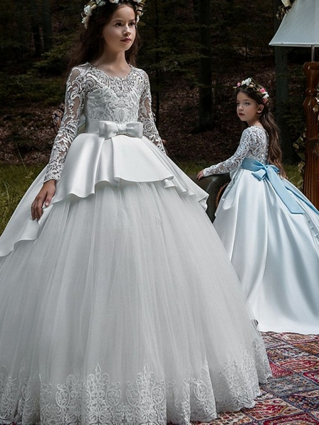 Ball Gown Court Train Party / Birthday Flower Girl Dresses - Poly Long Sleeve Jewel Neck With Lace / Bow(S) / Appliques_2