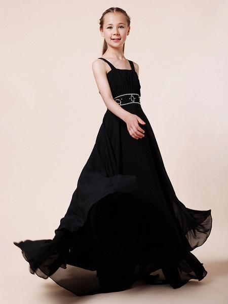 Sheath / Column Straps Floor Length Chiffon Junior Bridesmaid Dress With Beading / Draping / Empire / Spring / Summer / Fall / Winter_4