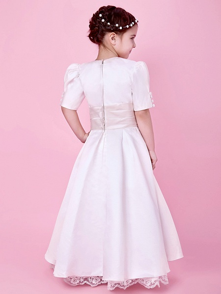 Princess / A-Line Floor Length First Communion / Wedding Party Lace / Satin Short Sleeve Jewel Neck With Lace / Sash / Ribbon / Buttons / Spring / Fall / Winter_4