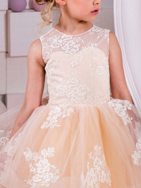 Ball Gown Floor Length Wedding / Birthday Flower Girl Dresses - Polyester Sleeveless Jewel Neck With Tier / Appliques_2