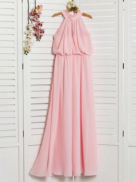 A-Line High Neck Floor Length Chiffon Junior Bridesmaid Dress With Ruffles / Ruching_2