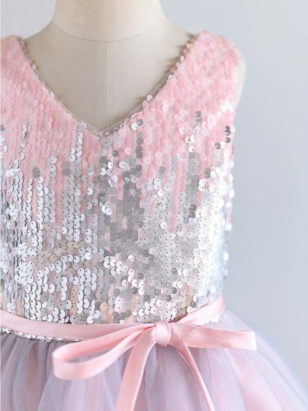 Ball Gown Knee Length Wedding / Birthday / Pageant Flower Girl Dresses - Tulle / Sequined Sleeveless V Neck With Belt_4