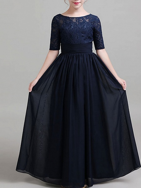 A-Line Round Neck Floor Length Chiffon Junior Bridesmaid Dress With Ruching_1