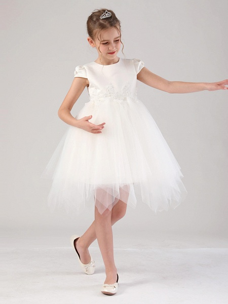 Princess / Ball Gown Royal Length Train / Medium Length Wedding / Event / Party Flower Girl Dresses - Satin / Tulle Cap Sleeve Jewel Neck With Beading / Appliques / Tiered_2