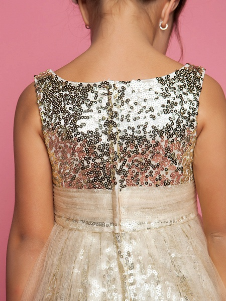 Princess / A-Line Tea Length Tulle Sleeveless Jewel Neck With Ruched / Sequin_6
