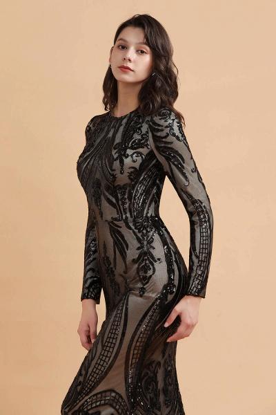 Luxury Black Round neck Sequined Detachable Overskirt Prom Dress_4