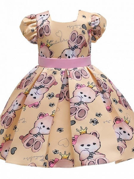 Ball Gown Knee Length Pageant Flower Girl Dresses - Polyester Short Sleeve Jewel Neck With Bow(S)_3