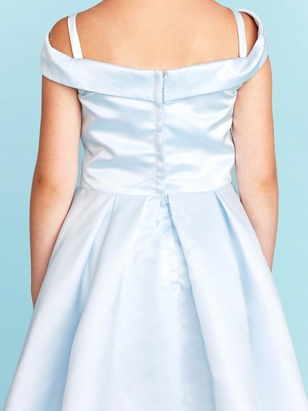 Princess / A-Line Off Shoulder Tea Length Satin Junior Bridesmaid Dress With Pleats_9