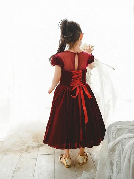Ball Gown Tea Length Wedding / Birthday / Pageant Flower Girl Dresses - Velvet Short Sleeve Jewel Neck With Pearls_2