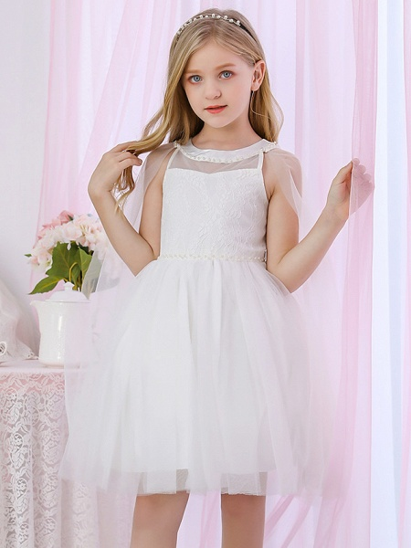 Princess / Two Piece / Ball Gown Medium Length Wedding / Event / Party Flower Girl Dresses - Lace / Satin / Tulle Sleeveless Jewel Neck With Pearls / Beading / Solid_1