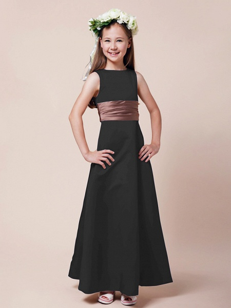 Princess / A-Line Bateau Neck Floor Length Satin Junior Bridesmaid Dress With Sash / Ribbon / Ruched / Spring / Summer / Fall / Winter / Apple_36