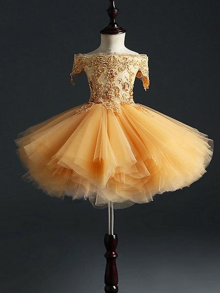 Princess Short Length Pageant Flower Girl Dresses - Polyester Short Sleeve Off Shoulder With Appliques_2
