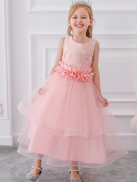 Princess / Ball Gown Ankle Length Wedding / Party Flower Girl Dresses - Tulle Sleeveless Jewel Neck With Sash / Ribbon / Bow(S) / Appliques_3