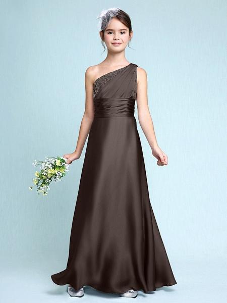 Sheath / Column One Shoulder Floor Length Chiffon Satin Junior Bridesmaid Dress With Ruched / Side Draping / Natural_25