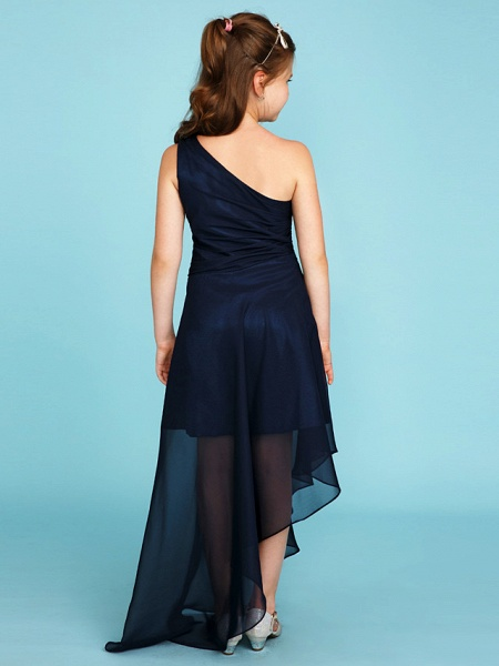 A-Line One Shoulder Asymmetrical Chiffon Junior Bridesmaid Dress With Side Draping / Wedding Party_2