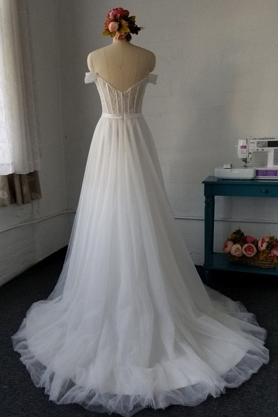 SD1958 Off The Shoulder Tulle Sweetheart Wedding Dress_3