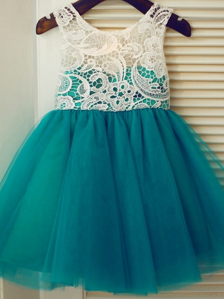 A-Line Knee Length Pageant Flower Girl Dresses - Lace / Tulle Sleeveless Jewel Neck With Lace / Pleats_1