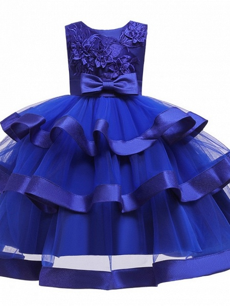Princess / Ball Gown Knee Length Wedding / Party Flower Girl Dresses - Tulle Sleeveless Jewel Neck With Sash / Ribbon / Bow(S) / Tier_10