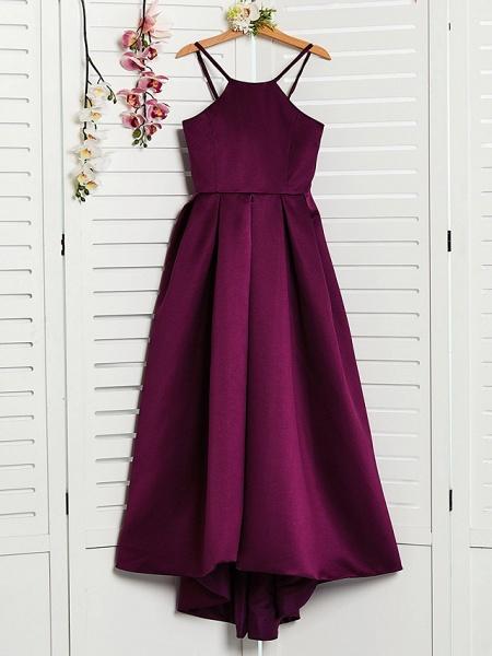 A-Line Halter Neck Sweep / Brush Train / Asymmetrical / Floor Length Satin Junior Bridesmaid Dress With Pleats_3