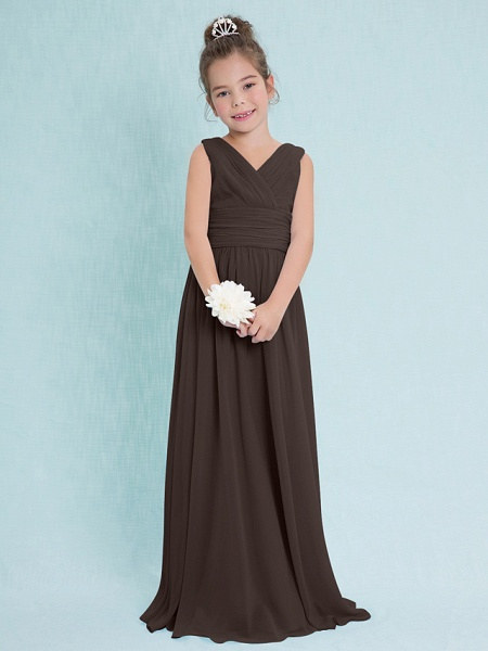 Sheath / Column V Neck Floor Length Chiffon Junior Bridesmaid Dress With Criss Cross / Ruched / Natural_23