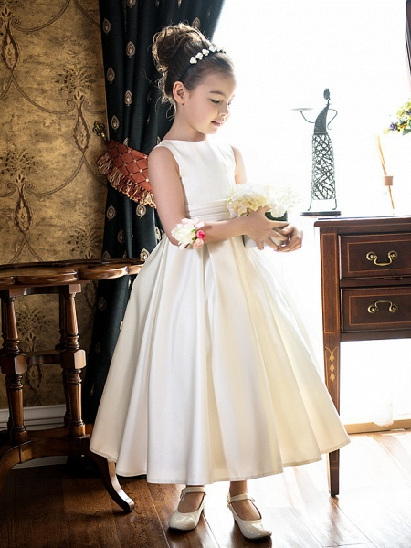 Princess / A-Line Tea Length Wedding / First Communion Flower Girl Dresses - Satin Sleeveless Jewel Neck With Bow(S) / Ruched_3