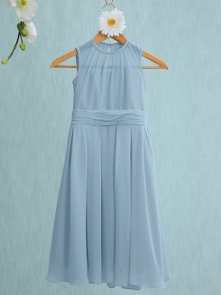 Sheath / Column Jewel Neck Knee Length Chiffon Junior Bridesmaid Dress With Ruched / Natural_29