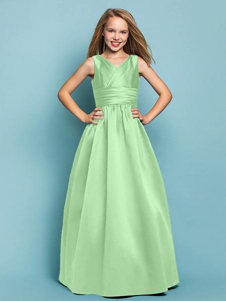 Princess / A-Line V Neck Floor Length Satin Junior Bridesmaid Dress With Sash / Ribbon / Criss Cross / Spring / Summer / Fall / Apple / Hourglass_28