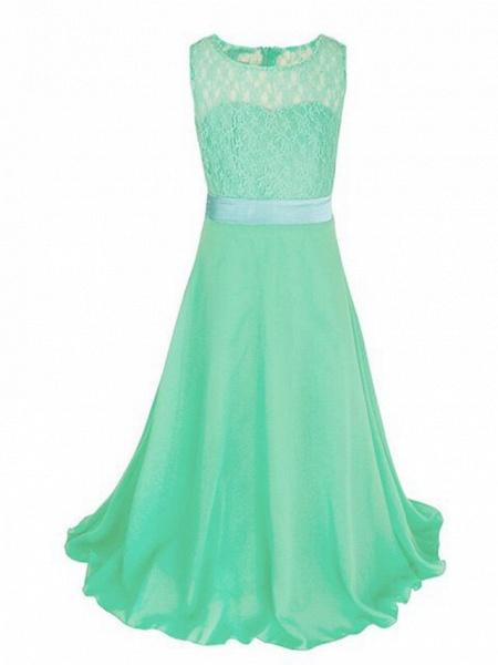 A-Line Floor Length Wedding / Party Flower Girl Dresses - Chiffon / Lace Sleeveless Jewel Neck With Sash / Ribbon_5