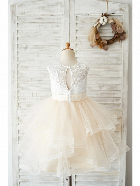 Ball Gown Knee Length Wedding / Birthday Flower Girl Dresses - Lace / Tulle Sleeveless Jewel Neck With Belt / Tiered_2