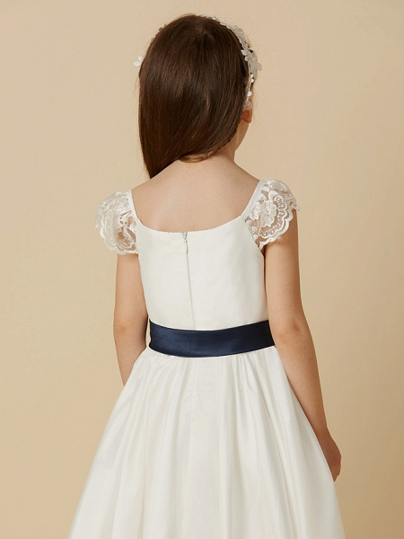 A-Line Ankle Length Wedding / First Communion Flower Girl Dresses - Taffeta Short Sleeve Scoop Neck With Sash / Ribbon / Bow(S)_5