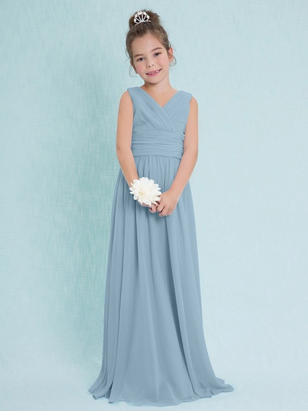 Sheath / Column V Neck Floor Length Chiffon Junior Bridesmaid Dress With Criss Cross / Ruched / Natural_30