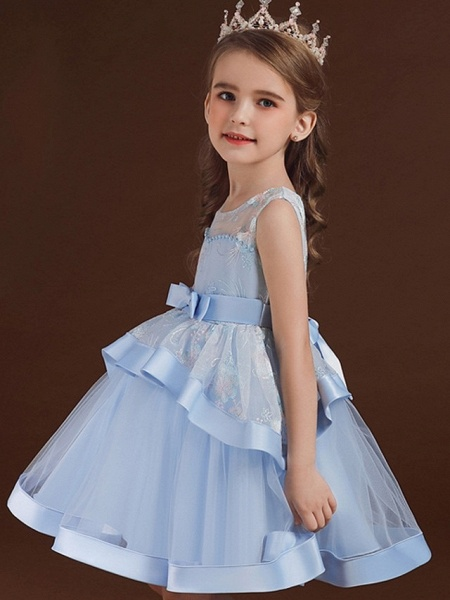 Princess / Ball Gown Knee Length Wedding / Party Flower Girl Dresses - Tulle Sleeveless Jewel Neck With Bow(S) / Tier / Embroidery_3
