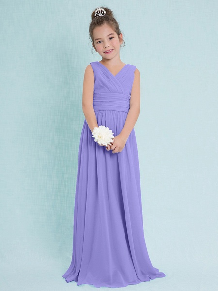 Sheath / Column V Neck Floor Length Chiffon Junior Bridesmaid Dress With Criss Cross / Ruched / Natural_37