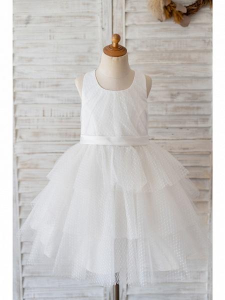 Ball Gown Knee Length Wedding / Birthday Flower Girl Dresses - Tulle Sleeveless Jewel Neck With Belt / Appliques_1