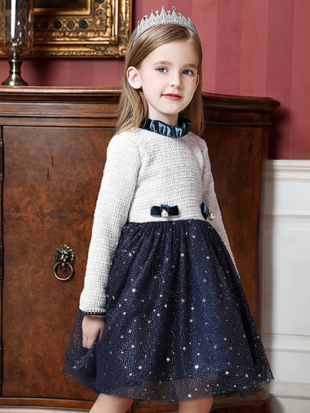 Princess / Ball Gown Knee Length Wedding / Party Flower Girl Dresses - Tulle Long Sleeve High Neck With Splicing_3