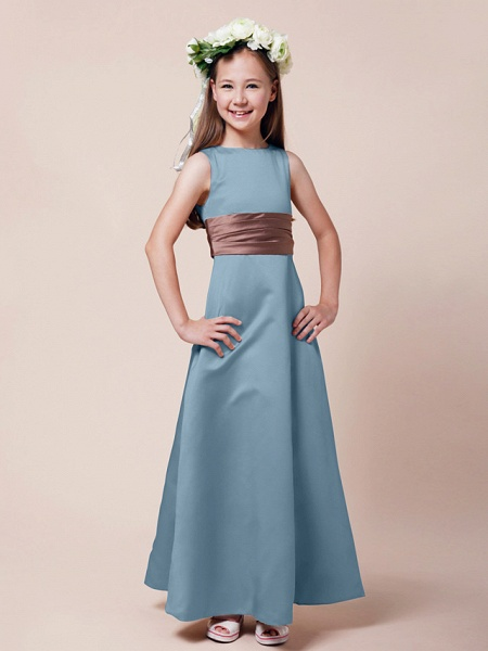Princess / A-Line Bateau Neck Floor Length Satin Junior Bridesmaid Dress With Sash / Ribbon / Ruched / Spring / Summer / Fall / Winter / Apple_28