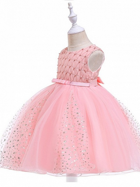 Princess / Ball Gown Knee Length Wedding / Party Flower Girl Dresses - Tulle Sleeveless Jewel Neck With Sash / Ribbon / Beading / Appliques_2