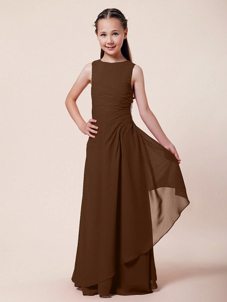 A-Line / Sheath / Column Bateau Neck Floor Length Chiffon Junior Bridesmaid Dress With Beading / Side Draping / Spring / Summer / Fall / Winter / Wedding Party_19