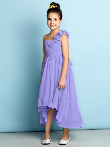 A-Line One Shoulder Asymmetrical Chiffon Junior Bridesmaid Dress With Criss Cross / Flower / Natural / Mini Me_41
