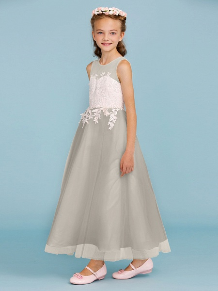 Princess / A-Line Jewel Neck Ankle Length Lace / Tulle Junior Bridesmaid Dress With Sash / Ribbon / Appliques / Wedding Party / Open Back_12