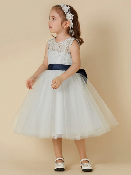A-Line Knee Length Lace / Tulle Sleeveless Scoop Neck With Sash / Ribbon / Bow(S)_4