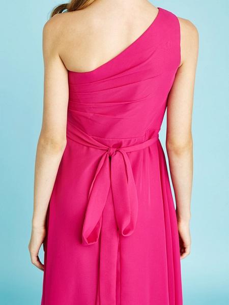 A-Line One Shoulder Asymmetrical Chiffon Junior Bridesmaid Dress With Sash / Ribbon / Bow(S) / Side Draping / Natural_11